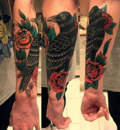 Raven tattoo - I like these colors