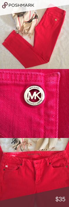 Michael Kors Jeans Red Size 4 In very nice used condition. Some light fading, but still quite nice. Women's size 4. Comes from a pet free and smoke free home. Michael Kors Jeans Skinny