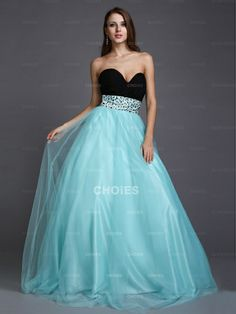 Nice A-Line Sweetheart Beading Sleeveless Floor-Length Net Dresses - Choies.com