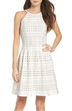Main Image - Eliza J Laser Cut Fit & Flare Dress