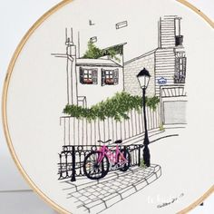 Detail study - This piece is up in the shop  check the link in bio! . . . #embroideryart #handmadeart #handmadeembroidery #handembroidery #broderie #bordado #embroideryvideo #lekadre #petronellaart #architecture #architecturelovers #architectureart #parisart #parisarchitecture #montmartre #mylittleparis #architecturelover #needlework #handcraft #embroidered #handmade #contemporaryembroidery #stitching #threadart