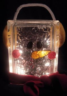 Snowman glass Block by santashelpers on Etsy, $20.00