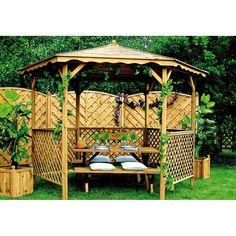 Tonnelle en bois de jardin hexagonale Lora   - 15/08/15 549,00 € TTC Diamètre 320 x 245 cm largeur intérieur 282 cm