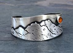 Harvest Moon over Mountains Handmade Artisan Sterling Silver Cuff Bracelet with Amber, NiciArt
