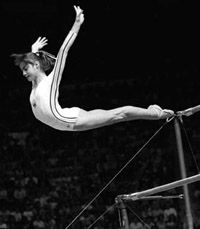 Romanian gymnast Nadia Comaneci was the first in history to receive a perfect score of 10 in the Olympic #gymnastics Competition.