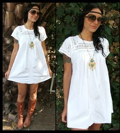 boho white dress with embroidery, short dress, brown boots and headband