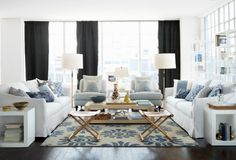 Blue and White Living Room | Serena & Lily