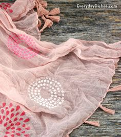 Clean out your closet and grab any plain scarf you can find! We're making a stenciled scarf that's easy, inexpensive and awesome! - Everyday Dishes & DIY