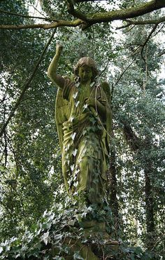 Disappearing Angel - Even the tall and beautiful sculpture of a mourning angel will someday be hidden beneath the dense foilage of the beautiful Highgate Cemetery in London and thus creating a strong memento mori.