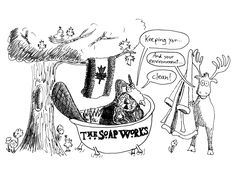 For The Soap Works soap company. The owner responded to my online ad offering cartoons. I drew a series of these, which he placed on his displays in stores and flea markets. Beaver Animal, Funny Comic Strips, Beauty Soap, Soap Company, Flea Markets, Funny Comics, Fleas, Illustrator, It Works