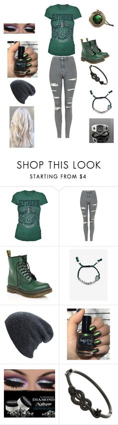 """Slytherin (My Hogwarts house)"" by anime-band-kid ❤ liked on Polyvore featuring Topshop, Dr. Martens and Warner Bros."