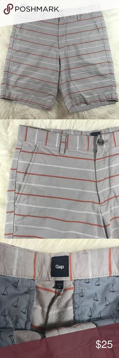 "Gap Men Oxford Shorts Sz 32   114 In new condition oxford style shorts by Gap.  Grey with orange stripes. Classic look!  Waist 16"" Rise 10"" Inseam 9"" My hubby never fit in it, and after last winter, never will :)  114 GAP Shorts"