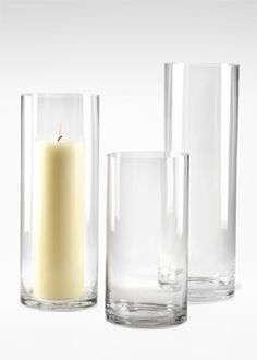 """Example of inner vase style and size varieties may need 4"""" diameter as opposed to these 6"""" shown here depending on size of outer vase. 6x12-, 6x16-, and 6x18-inch Clear Glass Cylinder Vases"""