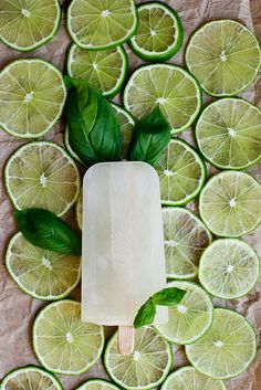 Lime Basil Gin Ice Pops perfect for a summer garden party or picnic