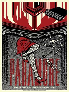 Paramore Fillmore Silver Spring Silkscreen Poster by El Jefe Tour Posters, Band Posters, Paramore Concert, Paramore Tattoo, Vintage Music Posters, Bedroom Wall Collage, Expressive Art, Silver Spring, Concert Posters