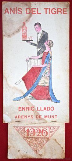 CARTEL PUBLICIDAD 1926. ANIS DEL TIGRE ENRIC LLADO. ARENYS DE MUNT BARCELONA. MODERNISTA DECORACION (Coleccionismo - Carteles Gran Formato - Carteles Publicitarios)