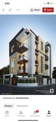 Modern Apartment Design, Modern House Design, Architecture Building Design, Modern Architecture, 2bhk House Plan, Architectural House Plans, House Front Design, House Elevation, Facade House
