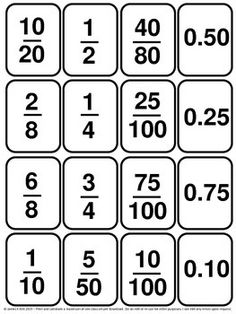 Decimal Cards and Fraction Cards  Decimal and Fraction Cards  Fractions, decimals and more fractions.  130 mini cards - 1 fraction, decimal, or percentage per card - 16 per A4 sheet - Suitable to print and laminate.   Designed specifically for level 3-5 learners and anyone wishing to revise or learn to compare fractions, decimals or percentages.