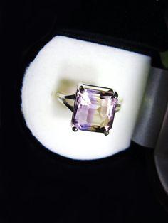 Top Grade Bi-Color Ametrine In Sterling Silver Ring 5.66ct Size 7