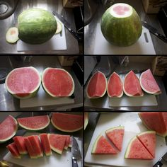 How to cut watermelon in triangle slices…this makes it seem doable. How to cut watermelon in triangle slices…this makes it seem doable. Watermelon Birthday, Watermelon Carving, Watermelon Slices, Watermelon On A Stick, Cutting A Watermelon, Comida Picnic, Healthy Snacks, Healthy Recipes, Good Food