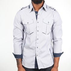Contrast Stripe Shirt Navy, $19, now featured on Fab.