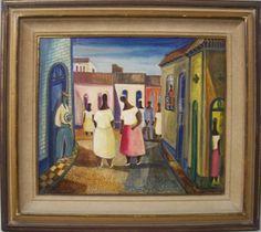Di Cavalcanti, Paisagem e Figuras, óleo sobre tela, 52 X 62 cm. assinado no canto inferior direito e