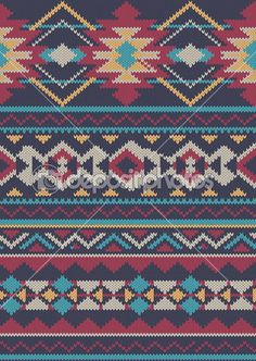 Seamless Knitted wool pattern background in Fair Isle style — Stock Illustration #39389529