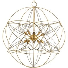 Nirvelli Modern Classic Atomic Gold Globe Chandelier ($1,890) ❤ liked on Polyvore featuring home, lighting, ceiling lights, gold chandelier light, gold lamp, contemporary lamps, gold lighting and strand lighting