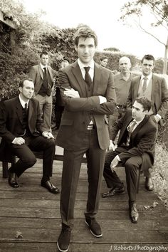 Groom and groomsmen sepia - wedding photography
