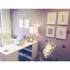 25 Trendy Home Office Bedroom Gold Dots Purple Office, Gold Office Decor, White Office, Home Office Bedroom, Home Office Space, Office Spaces, Bedroom Ideas, Bedroom Decor, Lilac Room