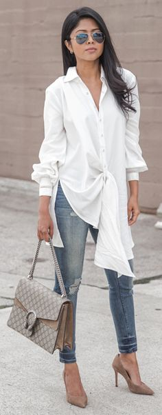 45 Beautiful Long Shirt Outfits Ideas For Spring This Year 32 Trajes Business Casual, Business Casual Outfits, Look Fashion, Spring Fashion, Autumn Fashion, Mode Outfits, Fashion Outfits, Womens Fashion, Fashion Clothes