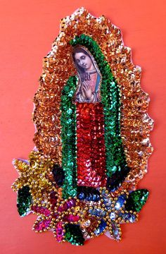 Virgin of Guadalupe Sequin Applique with Flowers Handmade in Mexico 21 x 11.5 cm