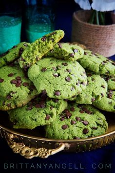 Matcha Chocolate Chip Cookies #paleo #glutenfree #dessert #recipe #chocolate #matcha