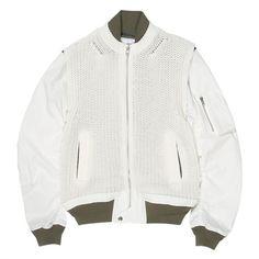 MA1 Jacket (£306) ❤ liked on Polyvore featuring outerwear, jackets, coats & jackets, white jacket, summer jacket and white summer jacket