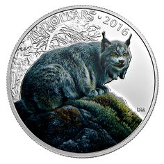 1 oz. Pure Silver Coloured Coin - Majestic Animal: Canadian Lynx - Mintage: 6,500 (2016)