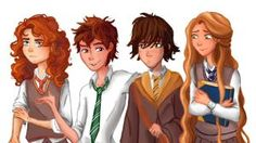 The big four, but Rapunzel and Hiccup are in the wrong houses... AGAIN...