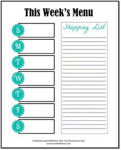 Menu Planner Free Printable by @sweetbellaroos