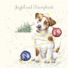 'Joyful and Triumphant' Christmas card Naughty Christmas, Christmas Puppy, Vintage Christmas, Christmas Ornament, Christmas Time, Christmas Crafts, Ornaments, Christmas Pictures To Draw, The Joy Of Painting