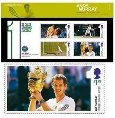 #Andy #Murray #Wimbledon #Stamps. Presentation Stamp Pack #tennis player  andymurraymovie.com