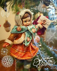 Смотрите это фото от @lena.bianca на Instagram • Отметки «Нравится»: 90 Antique Christmas Ornaments, Victorian Christmas, Christmas Tree Decorations, Christmas Tree Ornaments, Xmas, Woodland Christmas, Handmade Christmas, Cotton Crafts, Old Fashioned Christmas