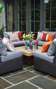 Orange is said to set a tone for optimism and motivation. Add a splash of orange by adding an an accent pillow to your outdoor space. #outdoorliving