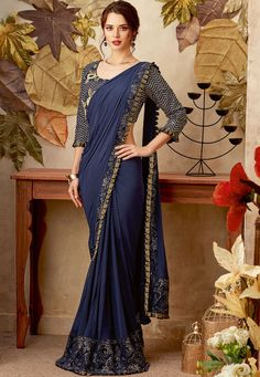 Buy Navy blue color designer party wear saree in UK, USA and Canada