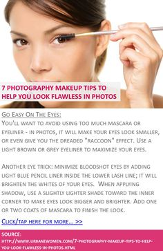 7 photography makeup tips to help you look flawless in photos - Go easy on the eyes - Click for more: http://www.urbanewomen.com/7-photography-makeup-tips-to-help-you-look-flawless-in-photos.html
