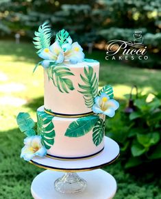 Tropical Baby Shower Cake - cake by Pucci Cakes Co shower shower ideas shower trends Hawaiian Baby Showers, Luau Baby Showers, Hawaiian Birthday Cakes, Hawaiian Party Cake, Hawaiian Cakes, Hawaiian Parties, Hawaiian Luau, Luau Cakes, Luau Theme Party