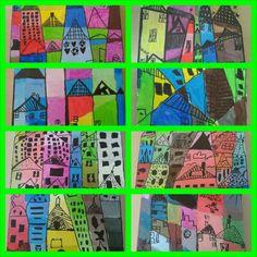"""""""Huizen"""" gemaakt door kinderen van groep 5&6. Schilderen op doek en zwarte merkstift. Mengen en diepte tekenen!"""
