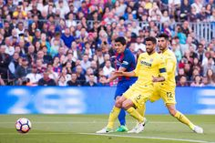 Luis Suarez of FC Barcelona shoots the ball and scores his team's third goal during the La Liga match between FC Barcelona and Villarreal CF at Camp Nou stadium on May 6, 2017 in Barcelona, Catalonia.