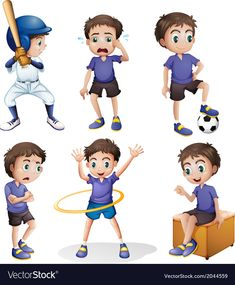 Royalty Free Clipart, Young Boys, Different, Adobe Illustrator, Vector Free, Clip Art, Activities, Cartoon, Illustration