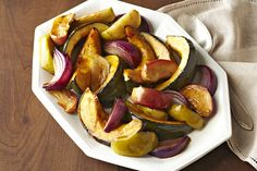 Celebrate the harvest season with an oven-roasted side dish. The squash, apples and onions in this seasonal side are glazed with KRAFT Dressing. Kraft Foods, Kraft Recipes, Fall Recipes, Holiday Recipes, Vinaigrette, Oven Roasted Squash, Thanksgiving Vegetable Sides, Thanksgiving Holiday, Crockpot Chicken Healthy