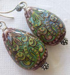 Polymer mood bead earrings --New Horizons--. $22.00, via Etsy.