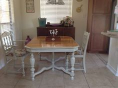 1930's chalk painted Jacobean table